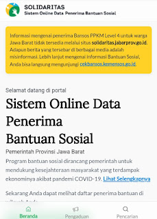 Untuk cara cek penerima bantuan ppkm level khusus Provinsi Jawa Barat tersebut, silahkan anda masuk ke laman resminya disini: bansos.pikobar.jabarprov.go.id.