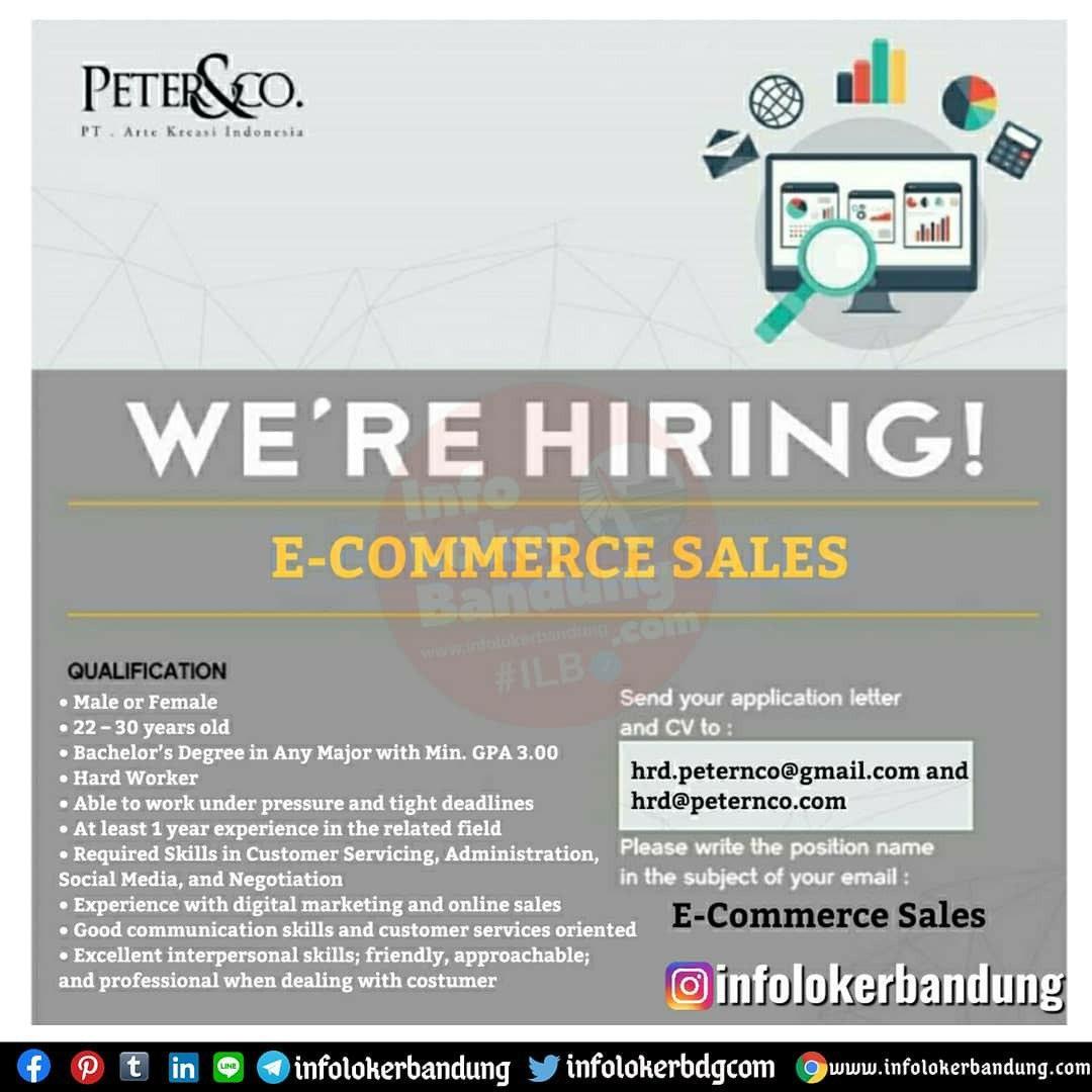 Lowongangan Kerja E-Commerce Sales PT. Arte Kreasi Indonesia (Peter&Co) Bandung Juli 2020