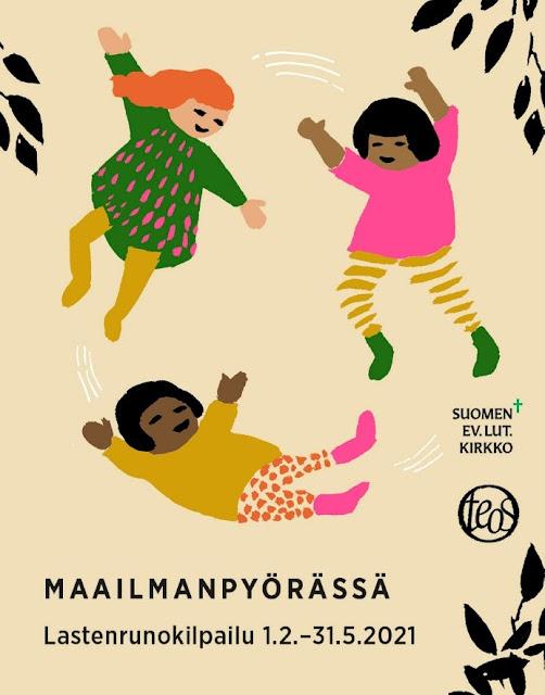 Maailmanpyörässä -lastenrunokilpailun piirretty mainoskuva, jossa on hyppiviä ja tanssivia lapsia.