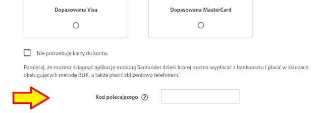 Gdzie wpisać kod polecenia we wniosku o konto w Santander Banku