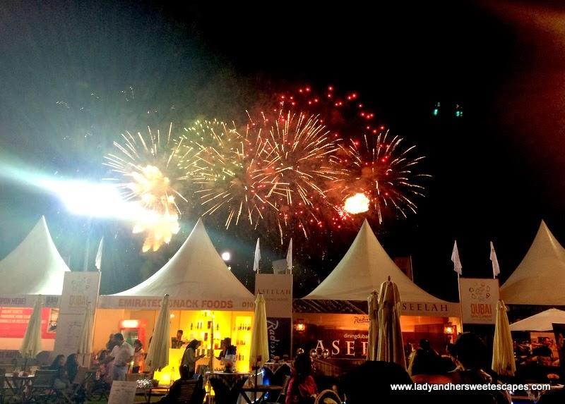 Fireworks display at the Dubai Food Carnival