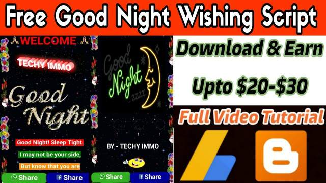 Download Good Night Viral Wishing Script For Blogger