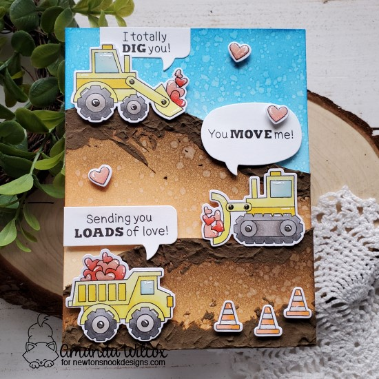 Construction Trucks Valentine Card by Amanda Wilcox | Love Quarry Stamp Set and Speech Bubbles Die Set by Newton's Nook Designs #newtonsnook #handmade