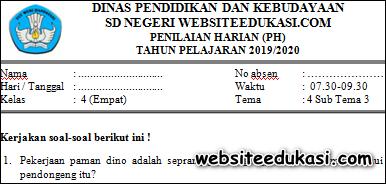 Soal PH / UH Kelas 4 Tema 4 Subtema 3 K13