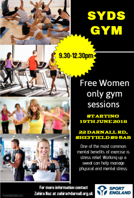 Advert for new women only gym sessions at Syd's Gym starting 19 June from 9.30 till 12.30