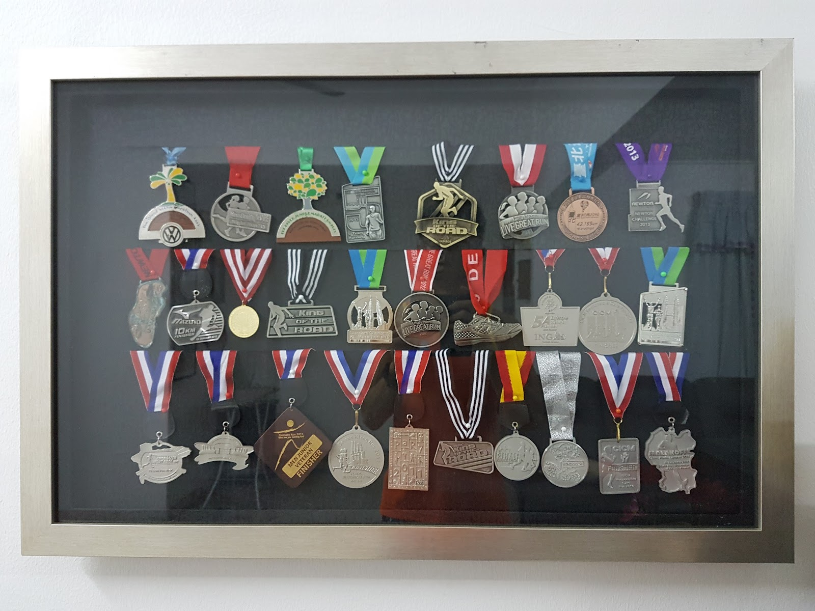 My custom-made wooden race medal frames with glass cover (instead of ...