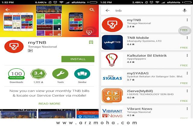 cara mudah periksa bil TNB setiap bulan, aplikasi mudah android periksa bil TNB setiap bulan, cara mudah check bil TNB, Elak caj tunggakan bil tnb, apps my TNB,