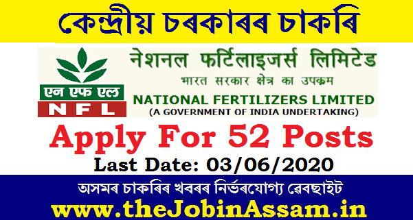 National Fertilizers Limited Recruitment 2020: Apply For 52 Engineer, Manager & Other Posts