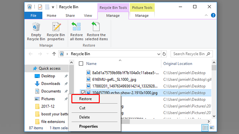 recycle bin se deleted files recover kare
