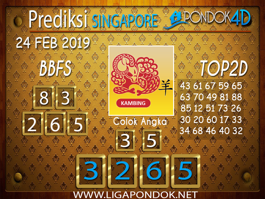 Prediksi Togel SINGAPORE PONDOK4D 24 FEBRUARI 2019