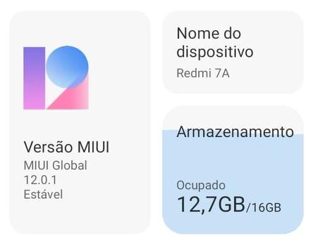 Redmi7A já recebeu update para a MIUI V12.0.1.QCMMIXM
