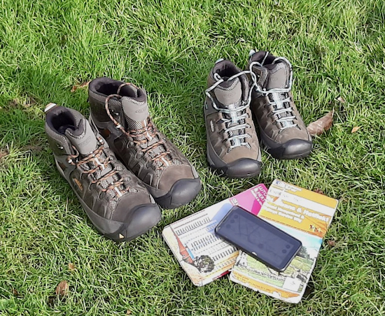 Photograph of KEEN walking boots, Ordnance Survey maps and OS app