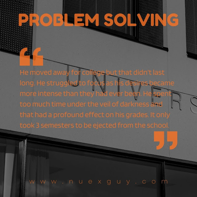 A quote from the PROBLEM SOLVING short fiction piece is laid over a black and white image of a college university sign.