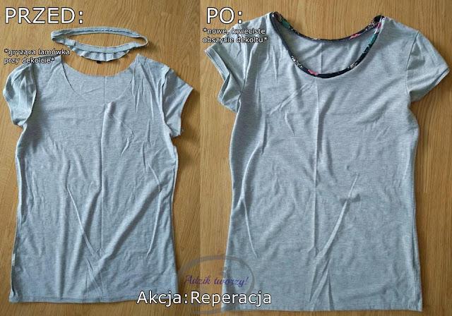 Przeróbka nudnej bluzki DIY obszycie - Akcja:Reperacja u Adzika