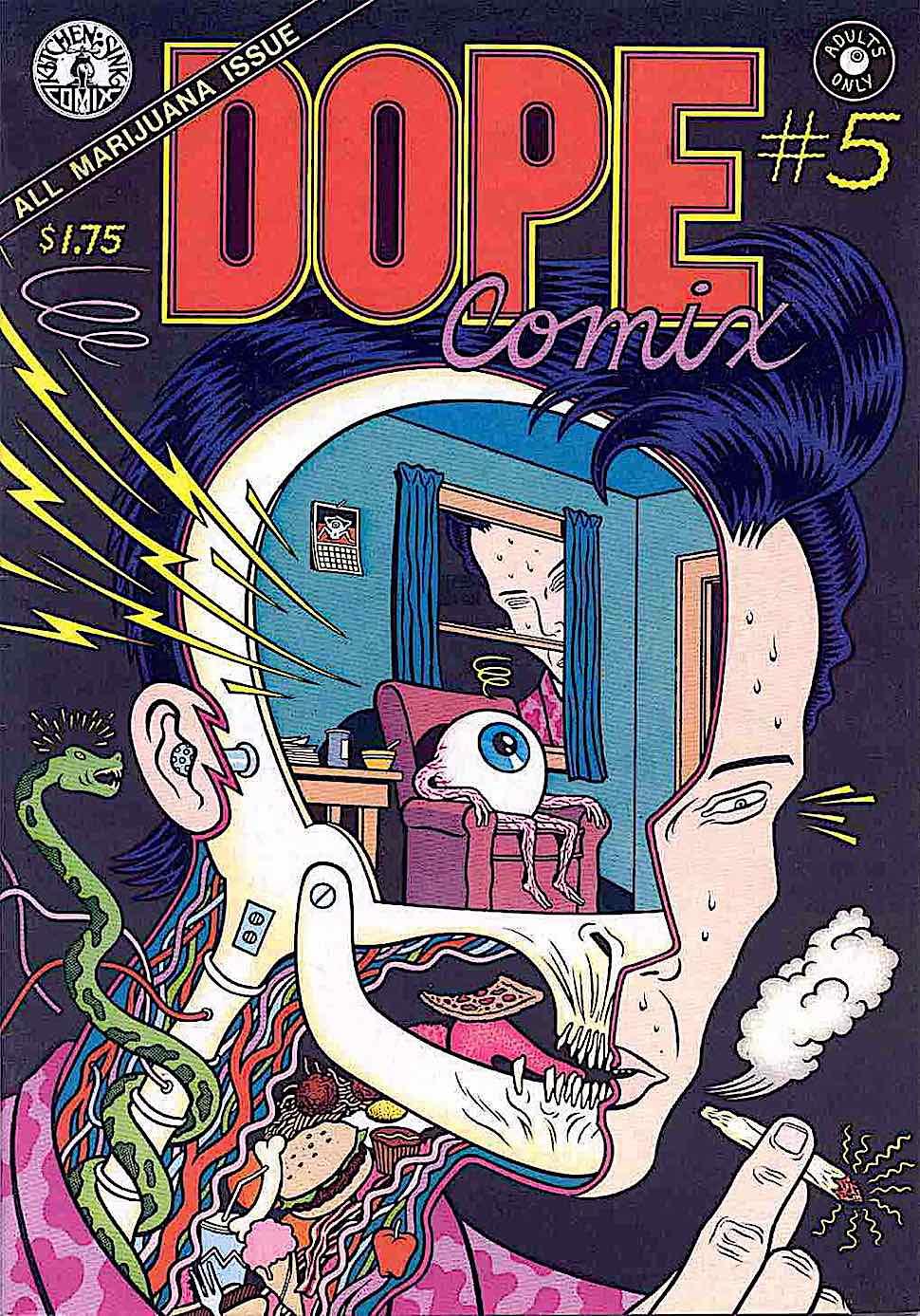 Charles Burns Dope Comics, All Marijuana Issue, a strange man smoking weed