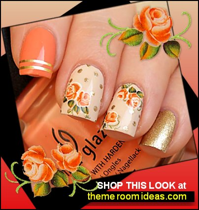 Rusty orange roses nail decals Orange rose stickers Nail water decals