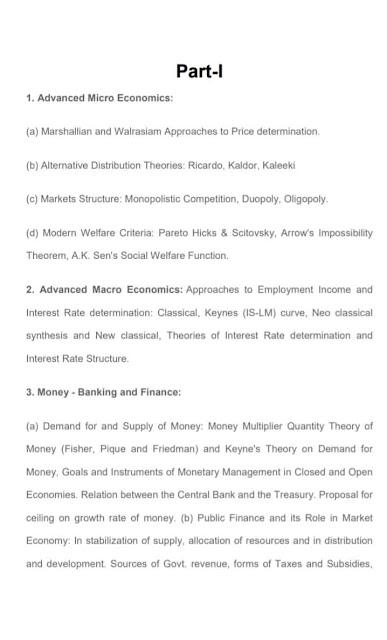 Economics syllabus for UPSC