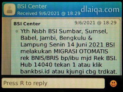 SMS pemberitahuan dari BSI Center (1)