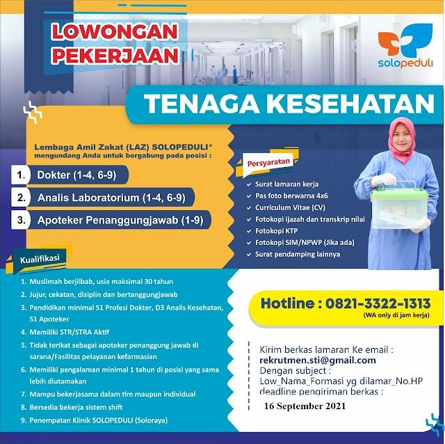 Loker Dokter Lembaga Amil Zakat (LAZ) SOLOPEDULI Penempatan Klinik SOLOPEDULI  (Soloraya)