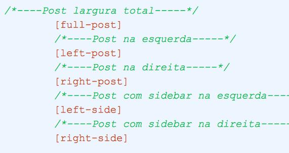 Configurações de layout do template no Blogger.