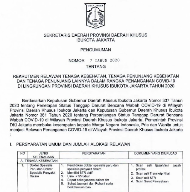 Rekrutmen Relawan Tenaga Kesehatan DKi Jakarta