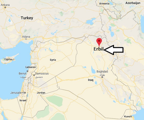 Irak Erbil harita