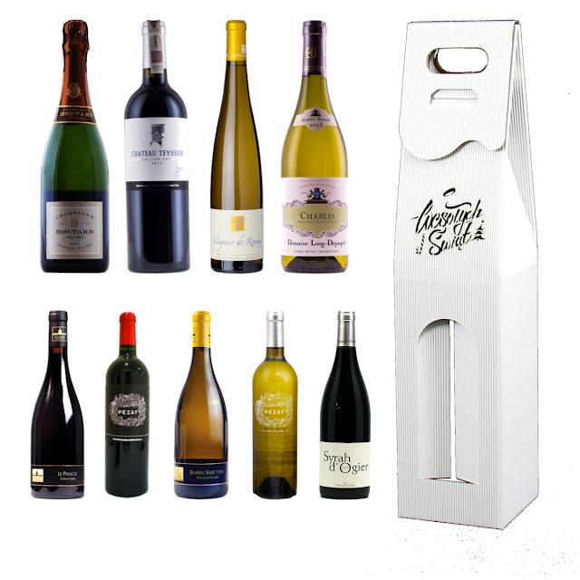 Pudełko na wino białe wesołych świąt