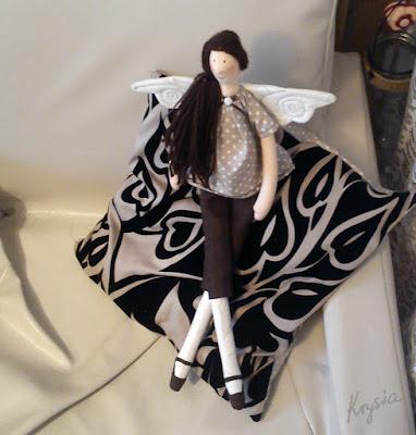 Krysia to uszyła - anielica Mikołajkowa dla Marysi - spersonalizowany anioł tilda uszyty na zamówienie