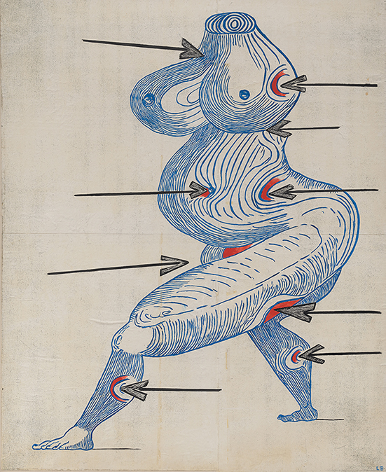 Louise Bourgeois Ste. Sébastienne, 1998 ink on Xerox paper mounted on canvas 197 x 160 cm