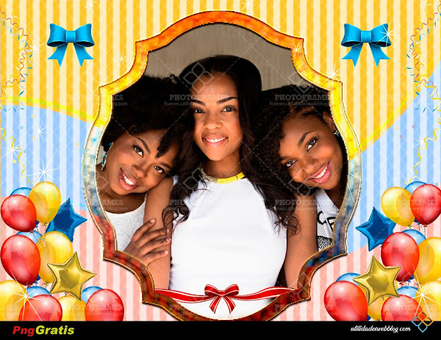 Cute PNG Photo Frame with Baloons, Ribbons and 3 Colors