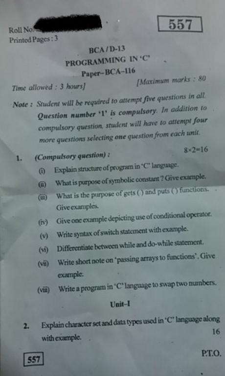 B C A Computer Application Programming in C Kurukshetra