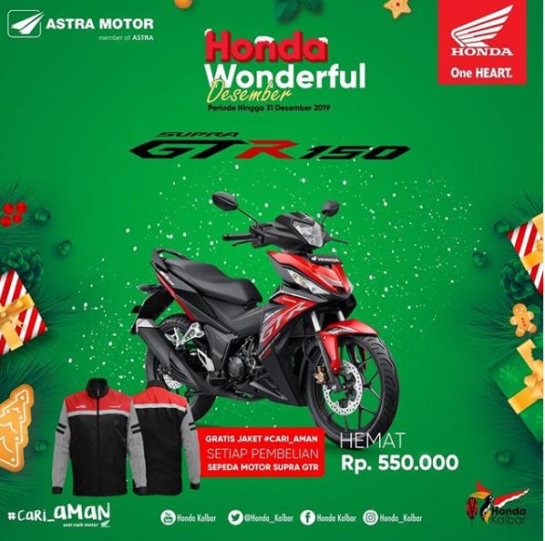 Promo Honda Wonderful Desember 2019 Supra GTR 150 Bersama FIF Group Pontianak