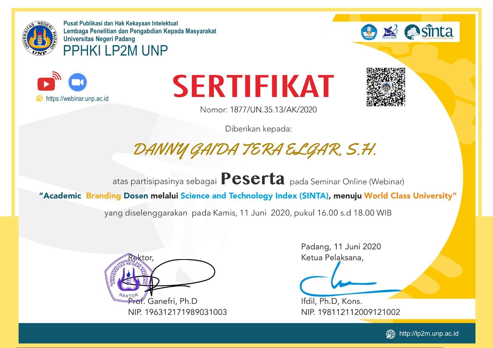 Sertifikat Pusat Publikasi dan Hak Kekayaan Intelektual Universitas Negeri Padang (UNP) | 11 Juni 2020