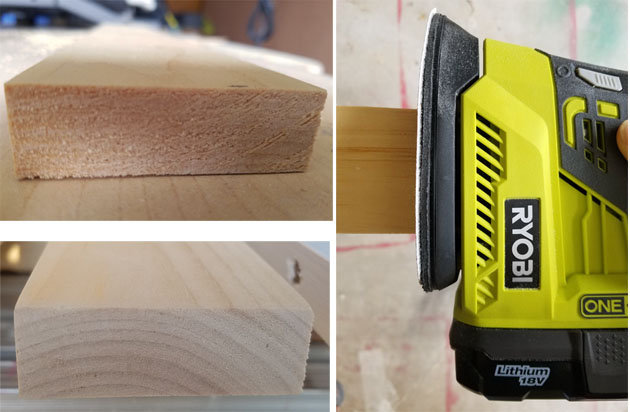 rough and smooth ends on wooden planks wit Ryobi cordless sander