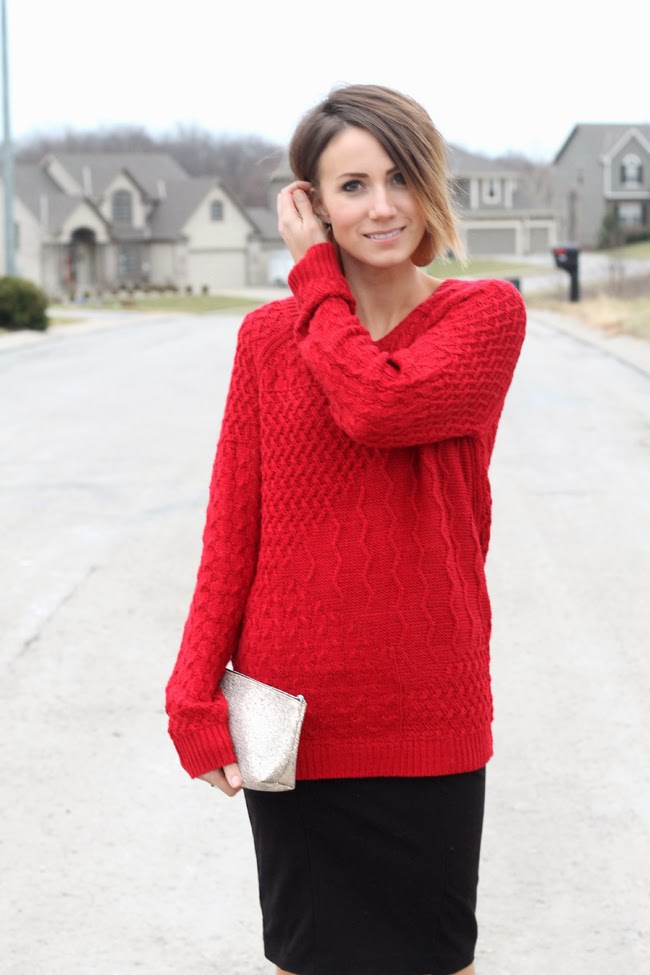 Red sweater, Nickel and Suede earrings