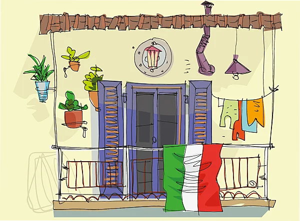 Balcón con bandera de México como lucha contra el coronavirus