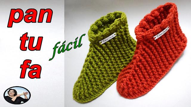 Como fazer linda e fácil pantufa em crochê aprender croche curso edinir croche online facebook instagram youtube