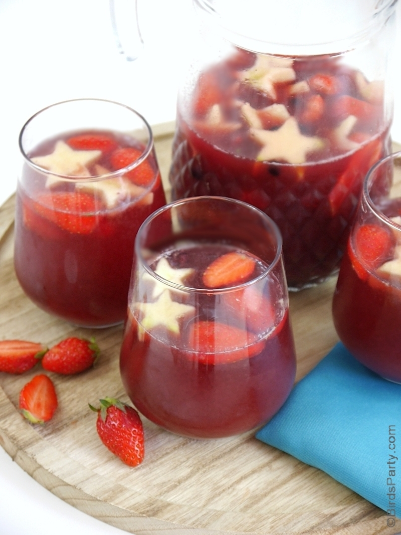 4th of July Big Batch Fruity Sangria - a quick and easy to make, seasonal, delicious cocktail recipe for entertaining a crowd this summer! by BirdsParty.com @birdsparty #4thjuly #4thjulycocktails #4thjulydrinks #4thjulysangria #sangria #wine #cocktails #recipes #summerdrinks