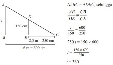 Penerapan kesebangunan segitiga