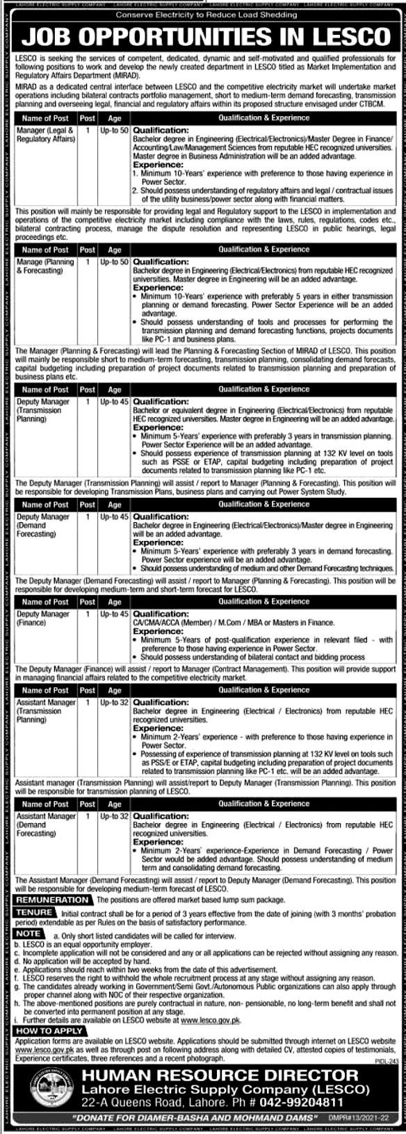 Lahore Electric Supply Company LESCO Latest  Jobs 2021 – Apply online www.lesco.gov.pk