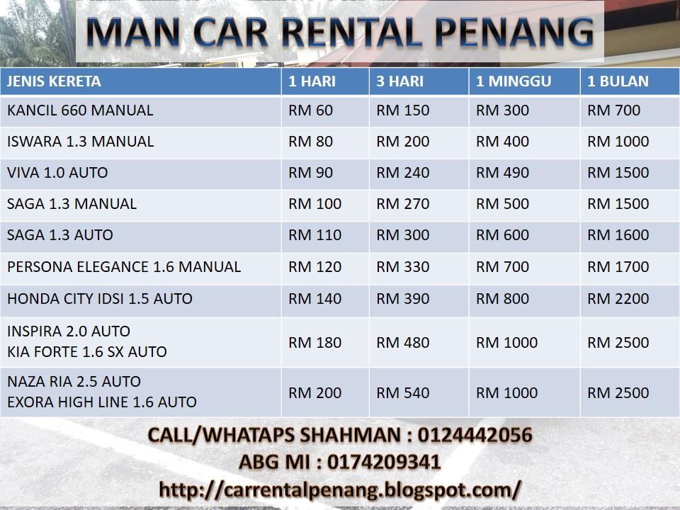 Penang Car Rental Monthly