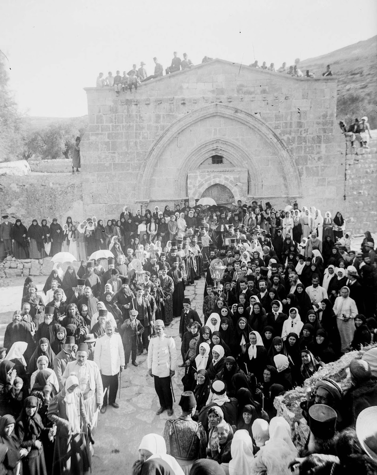 Greek Orthodox Christians gather at the Tomb of the Virgin Mary. 1915.