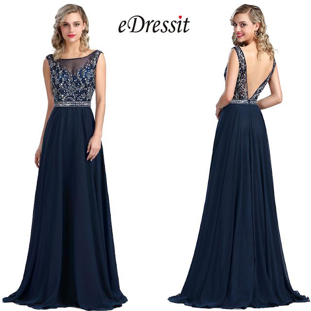 sleeveless blue beaded prom formal dress