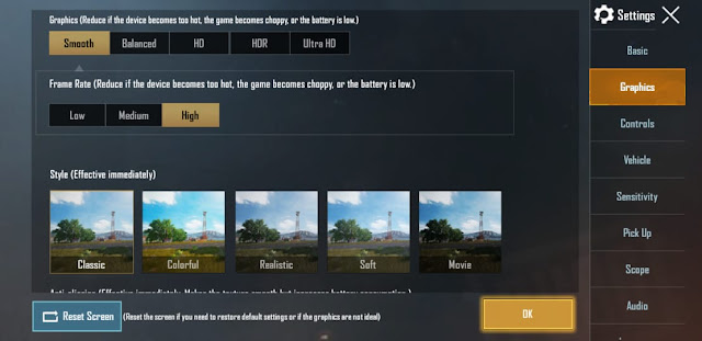 Best graphic settings for Pubg Mobile