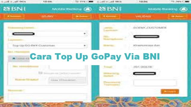Cara Top Up GoPay Via BNI