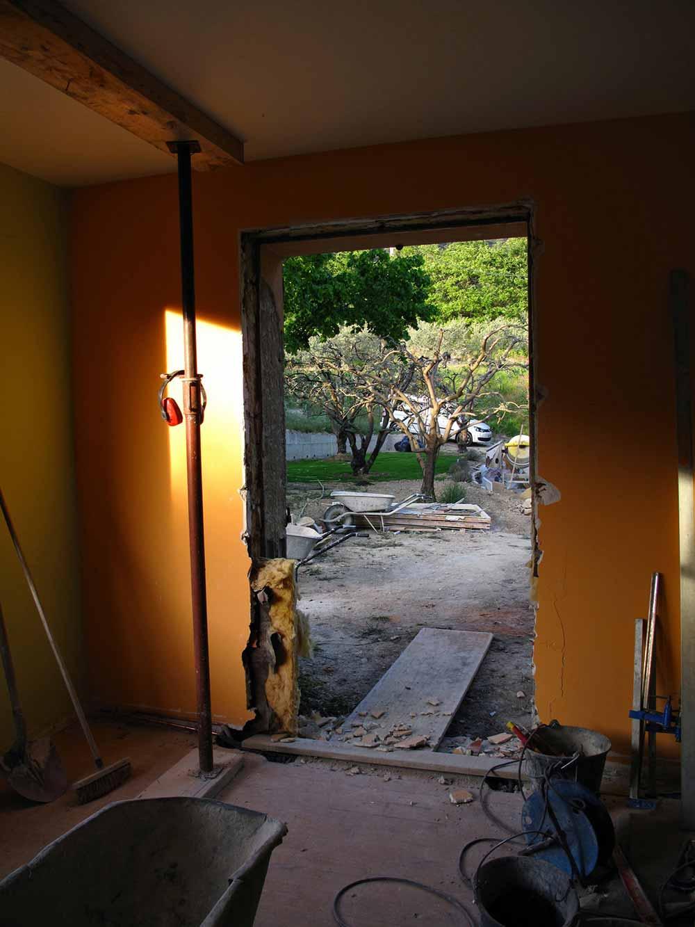 Chantier de l'atelier - Future porte-fenêtre
