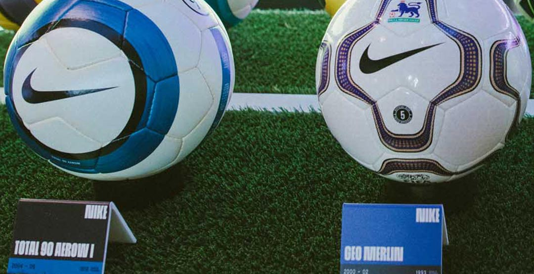 Nike showcased all the Premier League footballs that have been released  since the partnership began in 2000. c92bdea21b607