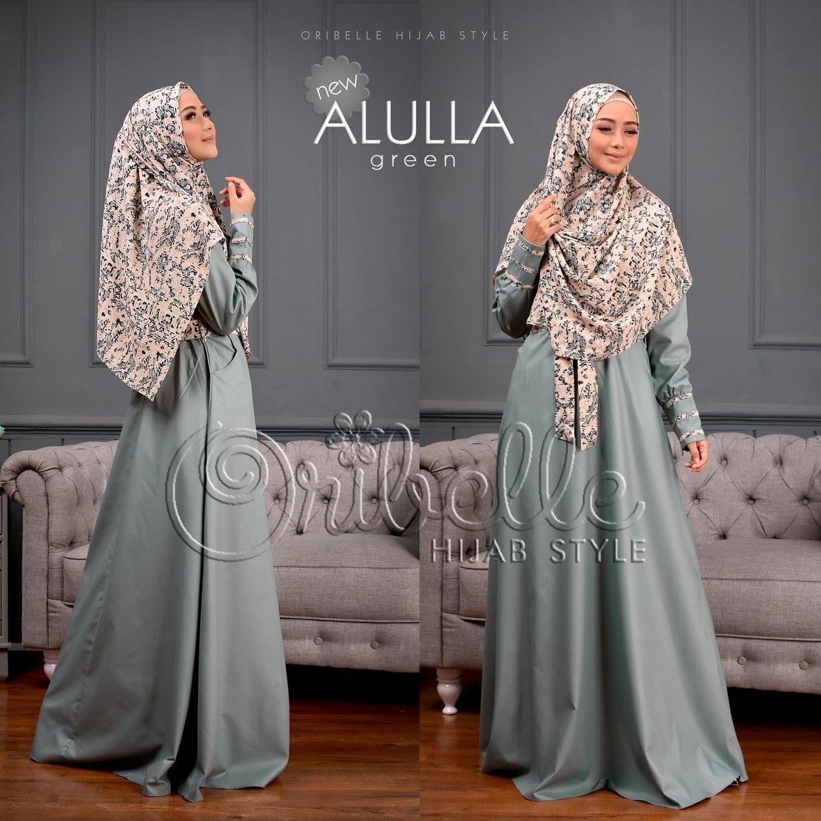 Setelan Gamis New Alulla Green Toko Online Syari Wanita 1 Baju Hijab Modern