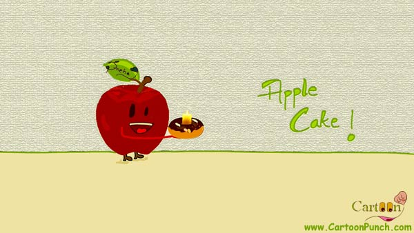 Apple Cake Cartoon illustration: A happy red apple with chocolate cake in hands