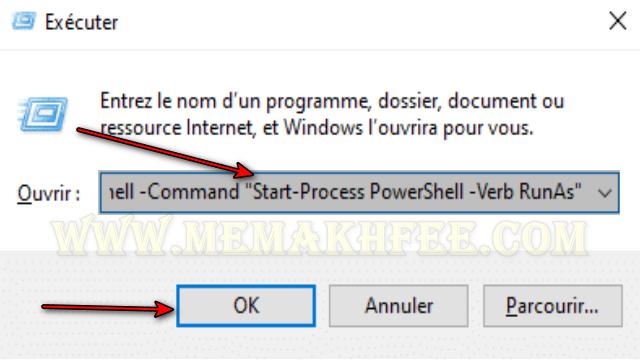 افتح تشغيل الأمر بورشيل كمسؤول windows-10